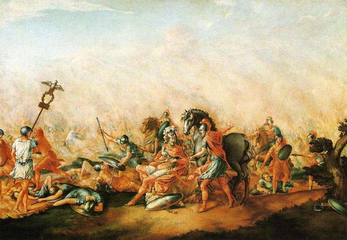 John Trumbull - The Anthenaeum / Yale Unversity Art Gallery,  A picture depicting the Battle of Cannae in 216 BC , (1 January, 1773).