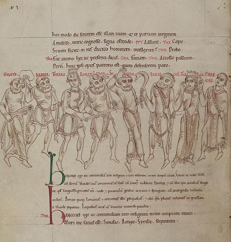 Terence [Publius Terentius Afer] (author),  Terence's Comedies , in Latin, with Romanesque drawings, (1150).