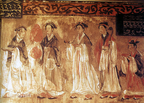 PericlesofAthens, Dahuting Tomb of late Eastern Han Dynasty , (11 October 2016), Public Domain. Alt Text:Coloured Mural of Eastern Han found in the Dahuting Tomb located in ZhengZhou, Henan, China. Mural illustrates a day activity of two women along with a child following two men being on their way to make offerings.