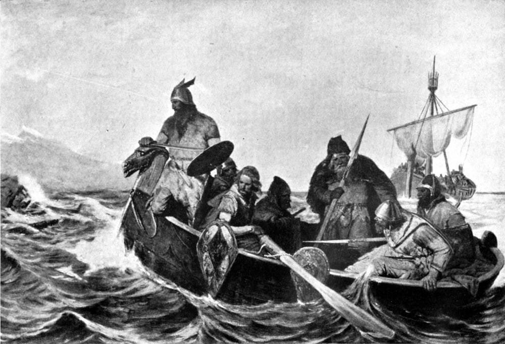 Oscar Wergeland,  Norsemen landing in Iceland , 1909. 7 vikings clad in armour and armed with spears sail on a boat that has a dragonhead at its bow. Two of the vikings are standing, one of them is looking ahead at the choppy sea, possibly to guide the boat safely.