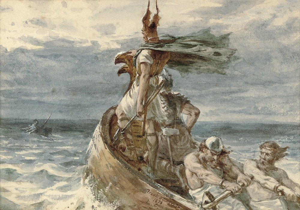 Frank Dicksee,  Vikings Heading for Land , 1873. 2 Viking soldiers on a sea voyage standing at the front of a ship with 2 other vikings rowing the ship. The hull of the ship is shaped like an animal head, probably a dragon head like most viking ships.
