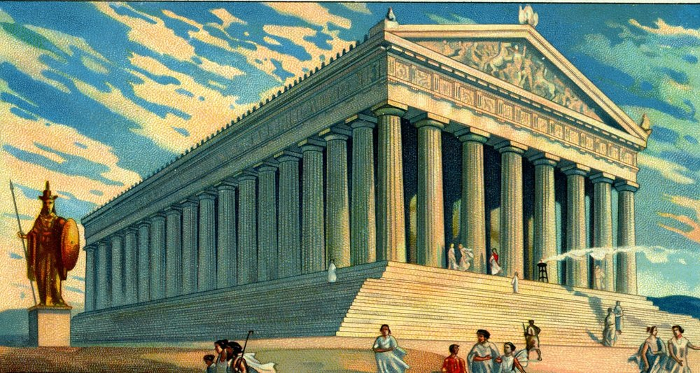 """The goddess Pallas Athena temple"" , vintage engraving worked in PS. An illustration of the goddess Pallas Athena temple on a sunny day. In the foreground there is a statue on the right-hand side, on the left-hand side there are people traveling to and from the temple."