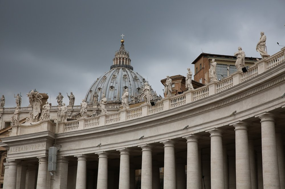 """ St. Peter's Basillica, Vatican, Rome "", 9 November 2015. A picture of St. Peter's Basillica on a cloudy day."