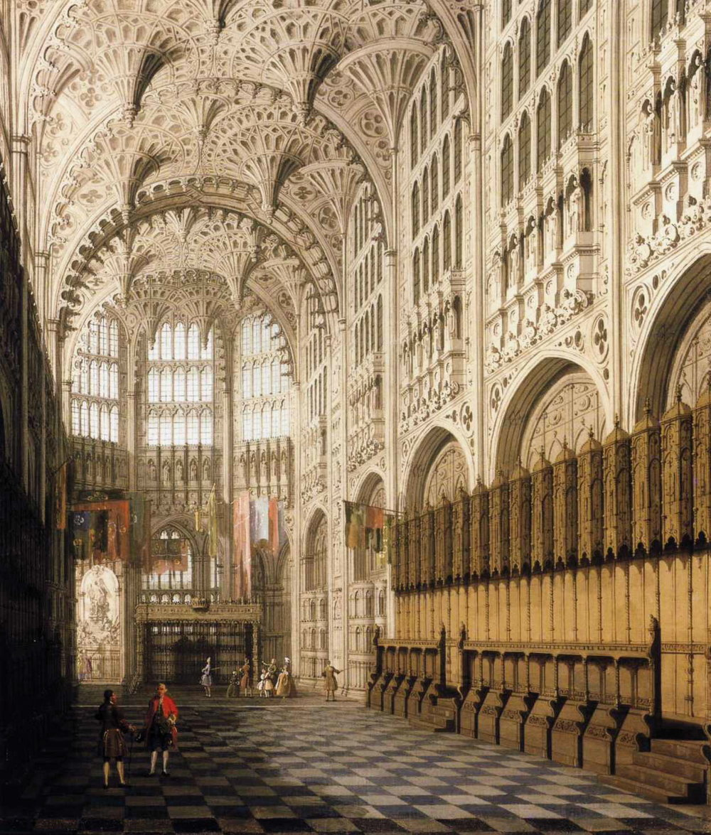 Canalett,  The Interior of Henry VII's Chapel in Westminster Abbey  ,  1697-1768. A painting of the interior architecture of a chapel.