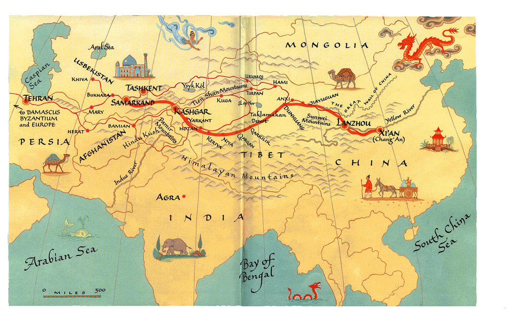 Av320phile,  Silk Road Map  (8 October 2005). CC BY-NC-SA 2.0 Alt Text: Digital image of a map of the Silk Road starting from Xi'An