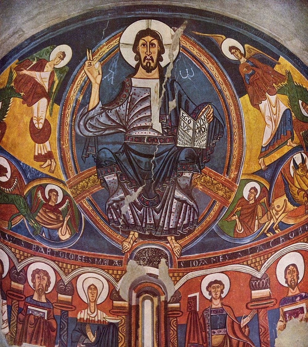 Master of Taüll,  Apse of Sant Climent de Taüll , 1123 CE. A fresco of Christ with four evangelists around him and a few saints and the Mother of God in a row below him.