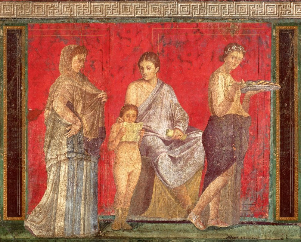 Phaidon, Ancient Romans clad in silk,  Painting of Fresco depicting the reading of the rituals of the bridal mysteries , (October 2012)