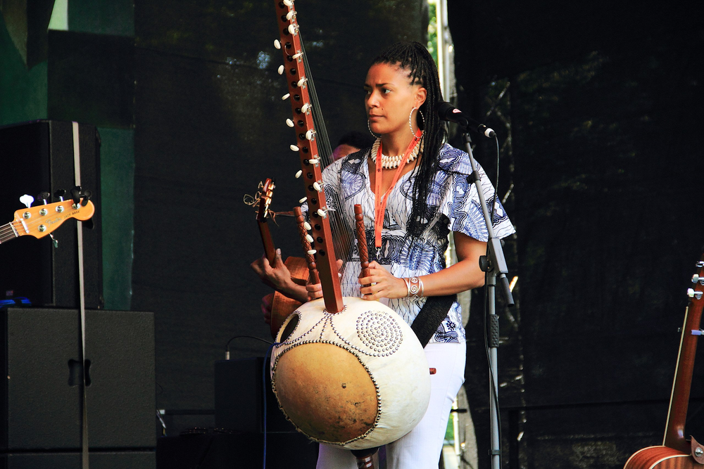 A descendant from a griot family, playing a harp - like instruments with 21 strings.