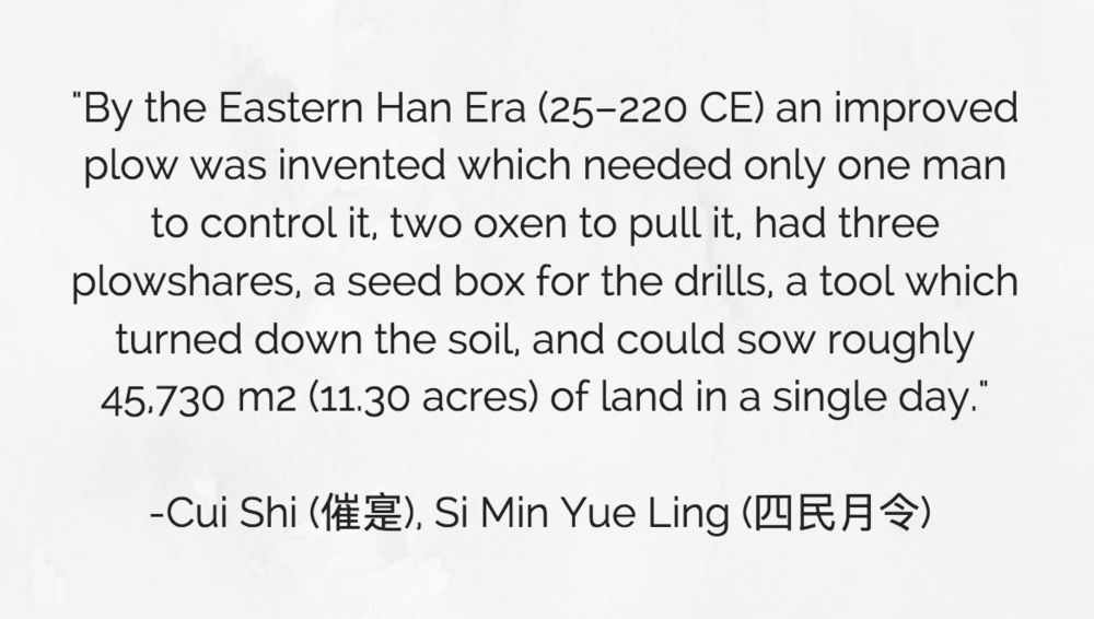 Quote by Cui Shi in Si Min Yue Ling , explaining the efficiency of the improved iron plough. Author's own work, Isabel Tan,  Canva , (25 April 2018)