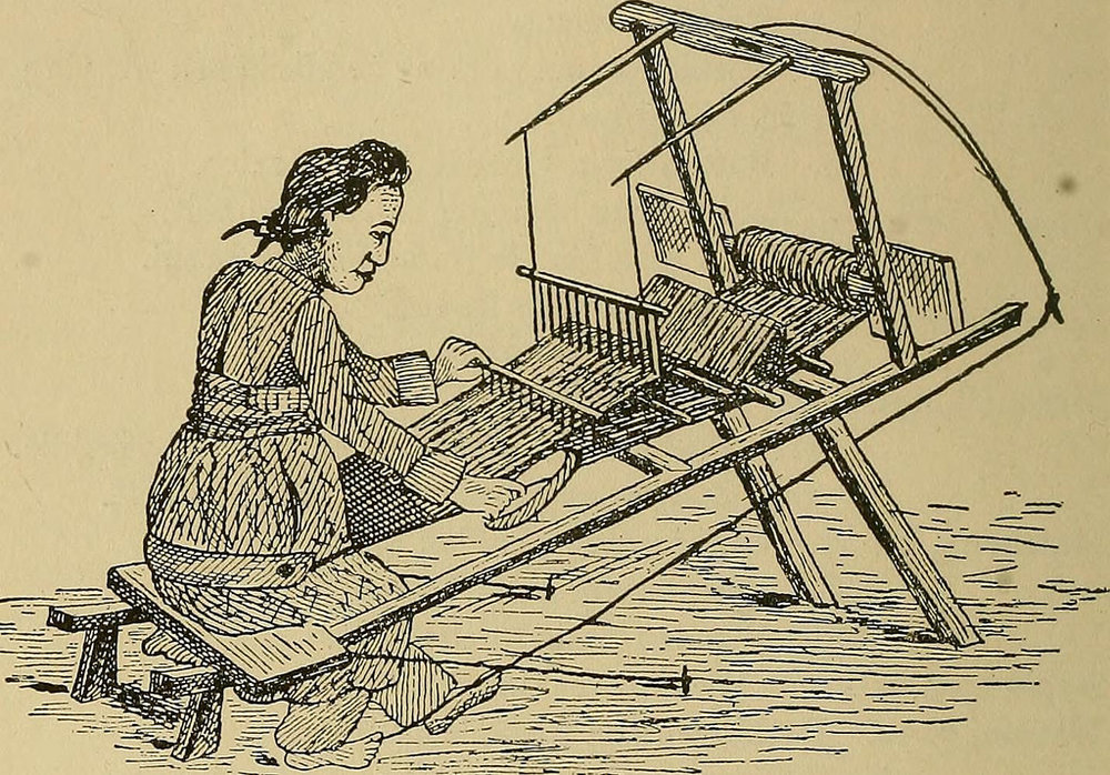 Type 1 of treadle loom: single-heald and single-treadle loom