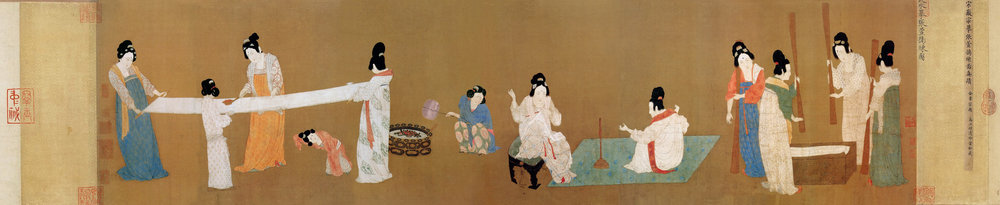 Museum of Fine Arts, Painting by Emperor Huizhong of  court ladies weaving, pounding and preparing silk , (19 May 2005)