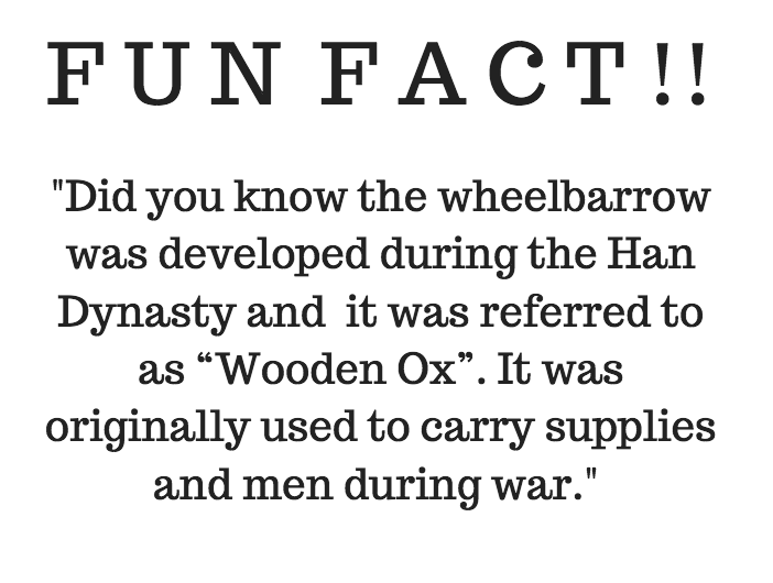 Fun Fact about  wheelbarrows !They were initially developed in the Han Dynasty to transport men and supplies during war. It was only later that they were used for agricultural purposes.