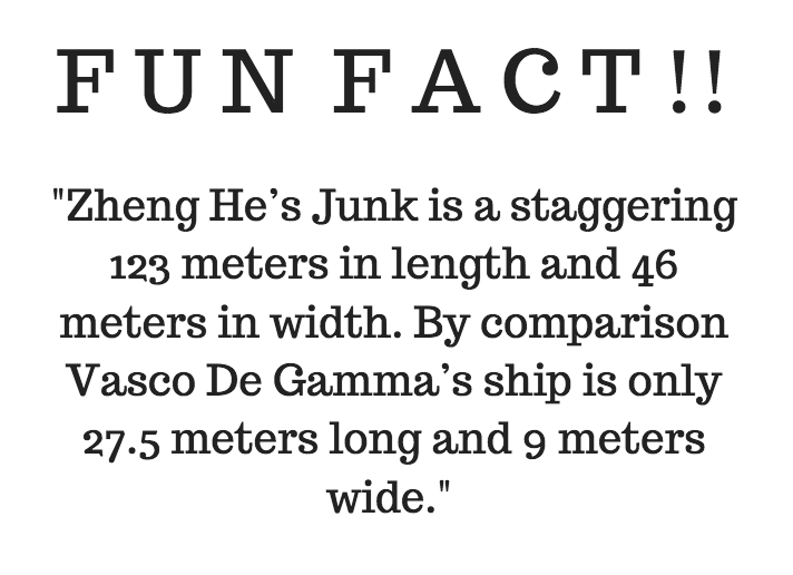 Fun Fact about  Zheng He's Junk !The size of his Junk is HUGE  in comparison to Vasco De Gamma's ship.