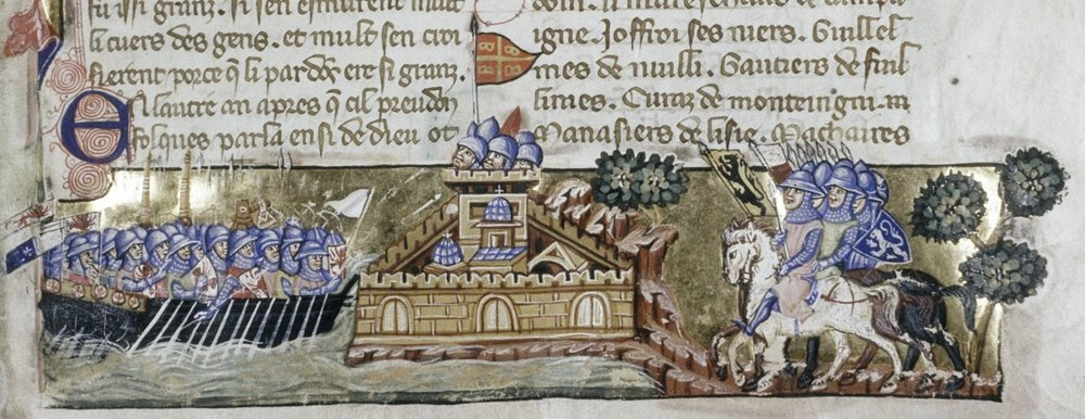 Geoffreoy de Villehardouin.  Crusaders invading Constantinople . (circa 1330) from  La Conquête de Constantinople.  Public Domain.  A drawing on a French manuscript depicting the Fourth Crusade where the crusader army invaded Constantinople.