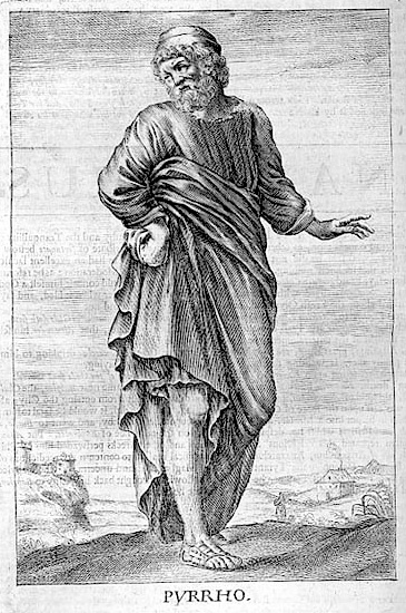Thomas Stanley,  Pyrrho , 1655, Public Domain.    Portrait of Pyrrho in tunic and sandals.