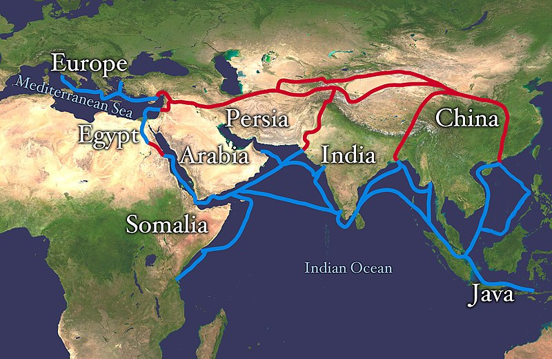 Map by NASA/Goddard Space Flight Center, Derivative work by Splette, Wikimedia Commons,  The routes on the Silk Road , 27 May 2010