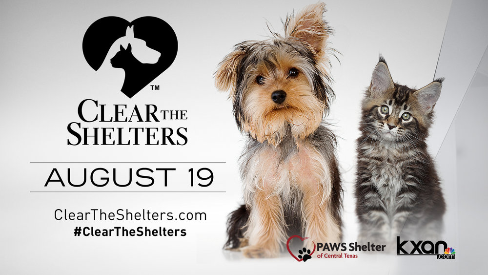 Nearly 700 shelters across the country are teaming up with, including PAWS Shelter of Central Texas, NBC Owned Television Stations and Telemundo for Clear the Shelters, a nationwide pet adoption drive on Saturday, August 19 that helps find loving homes for animals in need. Over 50,000 pets found their forever homes in 2016!    Come visit us at PAWS August 19th for this special day!     cleartheshelters.com