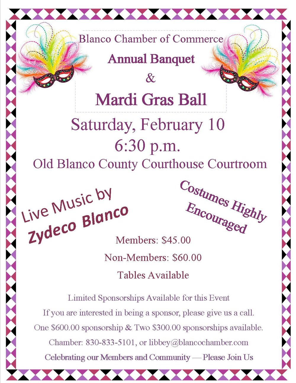 Please come by the Chamber office to purchase your tickets no later than February 5.