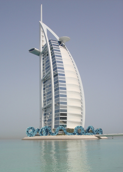 Infinity 48.260,   conceptual environment,   Burj Al Arab, Dubai,   12'Hx6'W, concrete,   mosaic tiles.