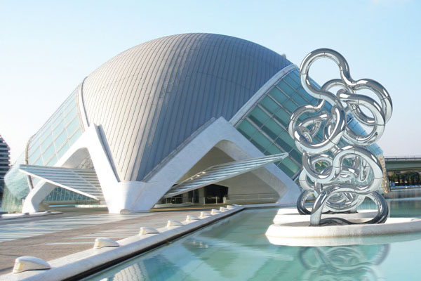 Infinity 12.128t,   Conceptual Environment,   The City of Arts and Sciences,   Valencia, Spain,   48'Hx60'W -   Stainless steel