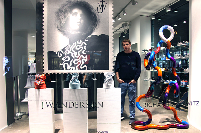 Jonathan Anderson in main window Colette Infinite and Fashion opening night