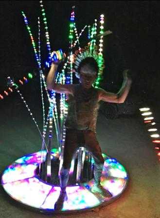 Richard X Zawitz Performance art Tree of Light Chief schmohawl Burning Man @ 2015 Man @ 2015