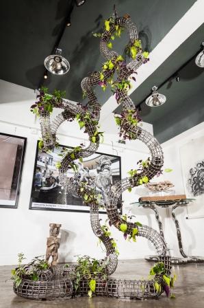 Infinite Living Man    Stainless Steel, plant life    1.4m (W) X 1.4m (D) X 3m (H)   Richard X Zawita © 2015
