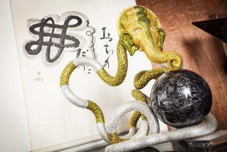Infinite Ganesh    ABS Plastic, Swarovski Elements, globe    40cm (W) X 40cm (D) X 60cm (H)   Richard X Zawitz© 2014