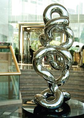 INFINITY 6.34r9   2009, Hong Kong JW Mariott Hotel   9'Hx3'W,   stainless steel, black granite