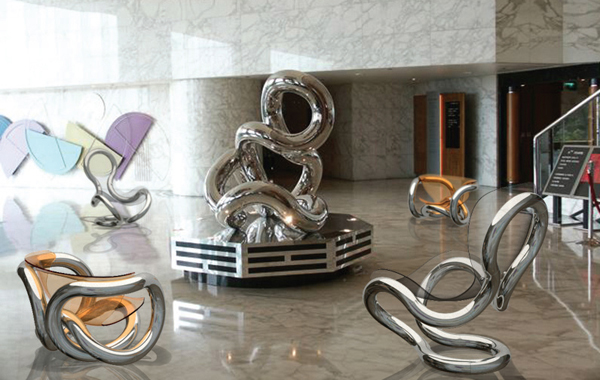 STATUE OF INFINITY 8.20    2003, Renaissance Harbour View Hotel, Hong Kong   10'Hx8'W   stainless steel