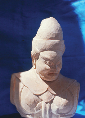 "GUARDIAN FIGURE BUST    1973,   18""Hx12""Wx6""D,   Cypress wood"