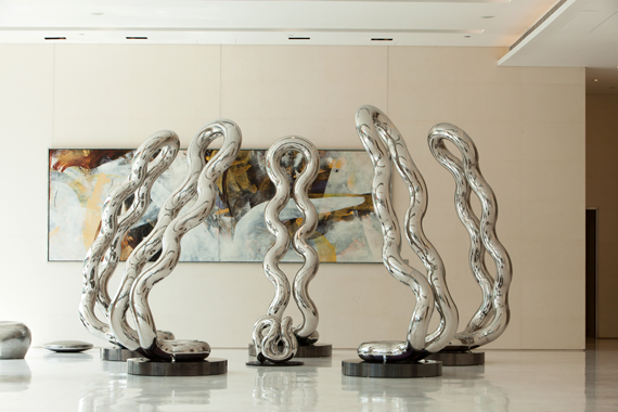 I  INFINITE GROUP   2012, One Island South, Hong Kong   10Hx3'W,    stainless steel, total 6 members
