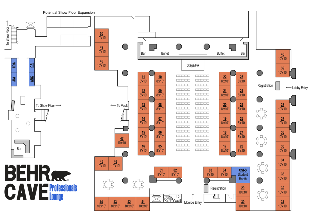*All 50 Show Floor Booths have been reserved - CSI Memphis Has Started a Waiting List and we do have room for expansion if there is enough interest.