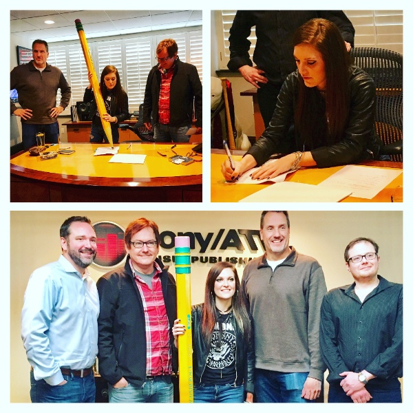 Kasey Tyndall signing a music publishing deal with Sony/ATV Nashville. Pictured (L-R): Josh Van Valkenburg, Senior Vice President of Nashville A&R, Sony/ATV Music Publishing; manager Dave Rose, President, Deep South Entertainment; Kasey Tyndall; Tom Luteran, Vice President of Nashville A&R, Sony/ATV Music Publishing; attorney Noah McPike.