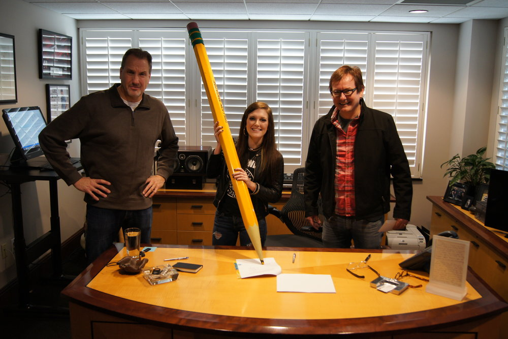 Pictured Left to Right: Tom Luteran (Sony ATV), Kasey Tyndall, Dave Rose (Deep South Entertainment)