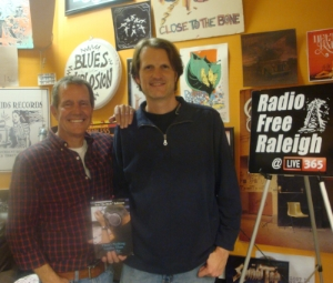 "Radio Free Raleigh's founder Mark Arsen (right), with radio DJ host Bob ""the Blade"" Robinson"