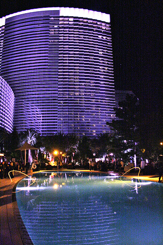 aria resort at night