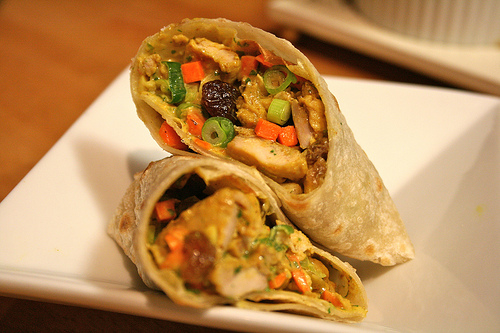 chicken curry wrap www.talkoftomatoes.com