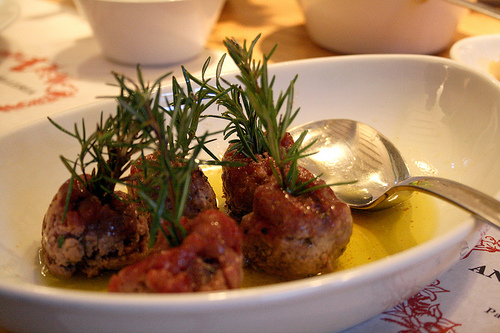 meatballs with rosemary skewers
