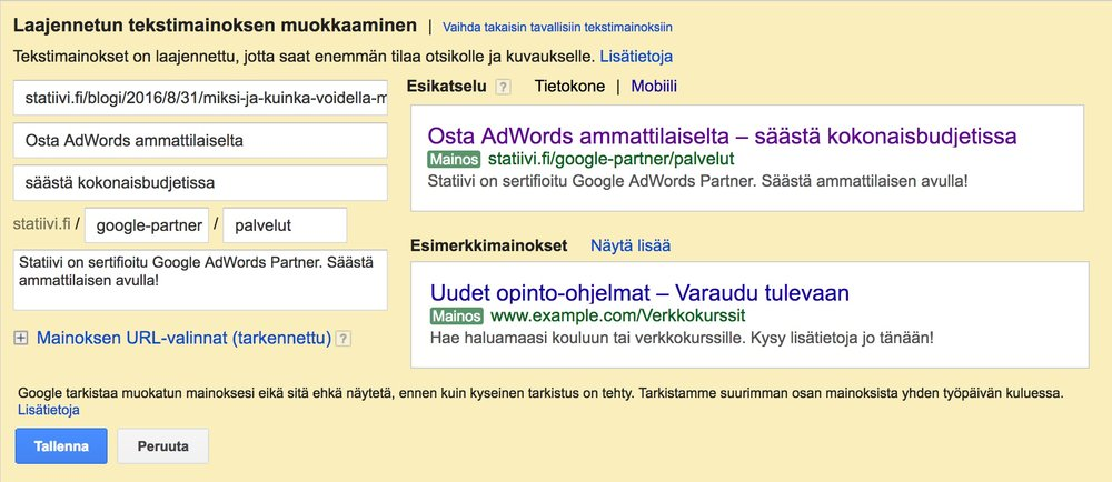 Google AdWords- laajennetun tekstimainoksen luontinäkymä