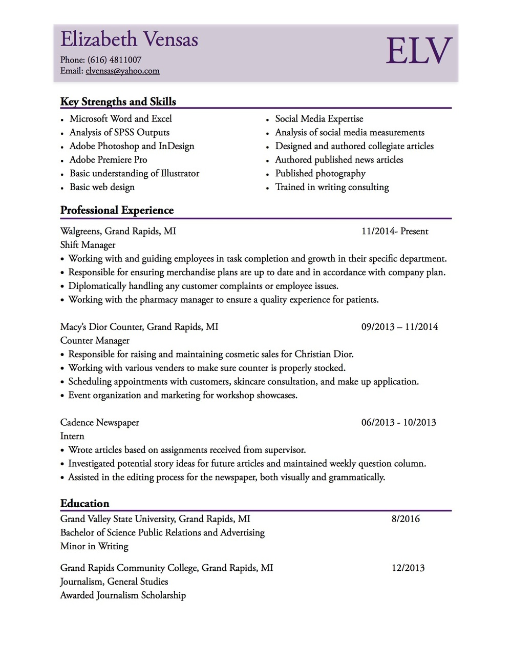 resume elizabeth vensas references available upon request