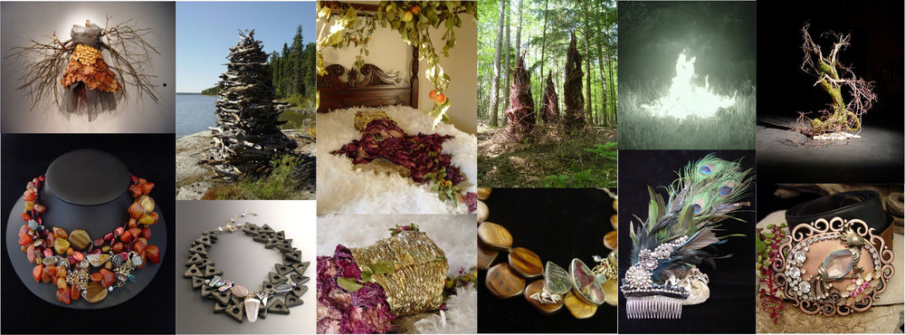 From left (in top bottom pairs): Fall dress, from the series entropy (Funded by the peninsula arts association) & Necklace (Artist feature at Edgewood orchard galleries, fish creek wi). Navigation device, (site specific near ear falls, Canada) & Necklace (live auction item to support peninsula school of art). The installation Matriarch (funded by the peninsula arts association). forest narratives (artist residency/collaboration with kewaunee high school, american folklore theater, and peninsula state park. funded by the northeast wi arts council) & necklace (artist feature at Edgewood orchard galleries). fire dress (site specific/performance, door county, wi) & hair comb (runway event for raw artists tucson). Sophia (artist feature at edgewood orchard galleries) & belt buckle (part of the cowgirl rose design label project).