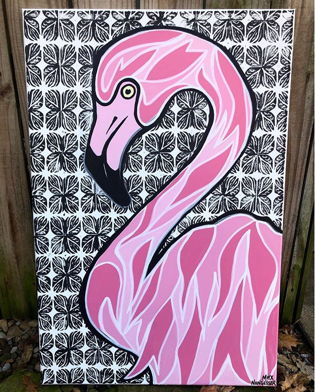 Newest commission piece of mine. Swipe to see the progression • • #pittsburgh #art #flamingo #painting #artbasel #artist #steelers #stairwaytoseven