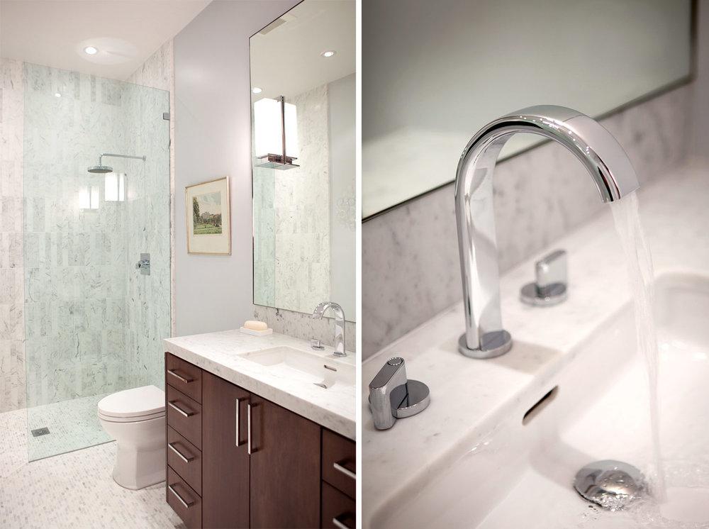 bathroom, shower, vanity, polished chrome faucet, bathroom sink, marble tiling, marble shower, rain shower