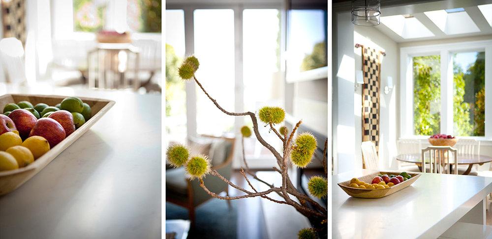 kitchen, fruit bowl, sun room, living room