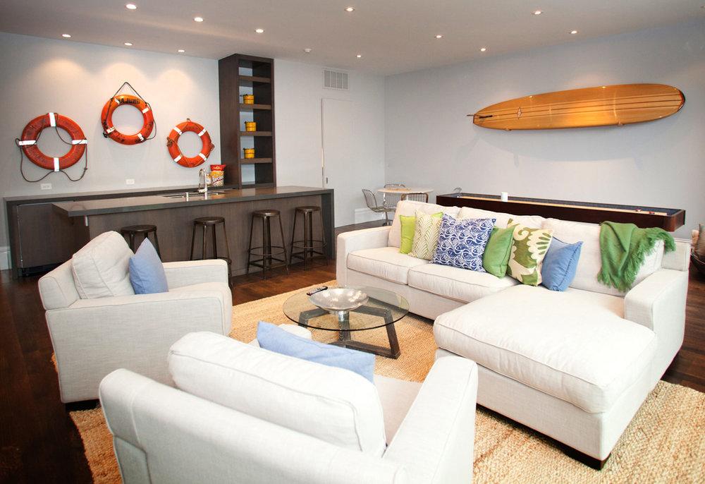 living room, pool house, pool bar, barstools, pool couch, coffee table, grass rug