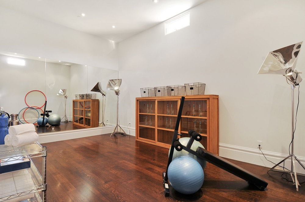 home gym, fitness center, exercise room, gym equipment, yoga studio,