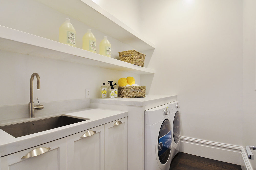 laundry room, mudroom, washroom, floating shelves, brushed chrome faucet