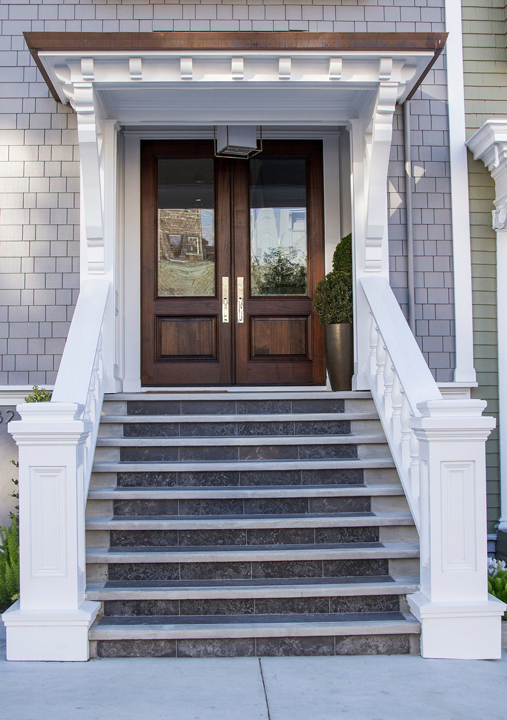 marble, steps, exterior, white, elegant, san francisco homes, front door, entryway, wood
