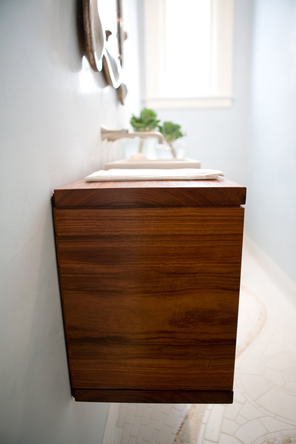 bathroom, simple, dark wood, mosaic tile, sink, mirror, modern finishes,